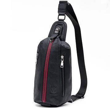 Рюкзак черный мужской из натуральной кожи (Black – черный с красной молнией)
