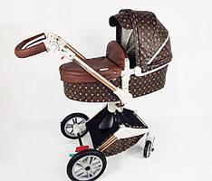 Оригинальная детская коляска Hot Mom 2в1 New 360 Louis Vuitton Луи Виттон эко-кожа Прогулка и люлька