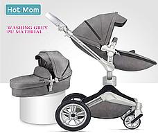 Оригинальная детская коляска Hot Mom 2в1 New 360 Dark Grey Тёмно-серый эко-кожа Прогулка и люлька