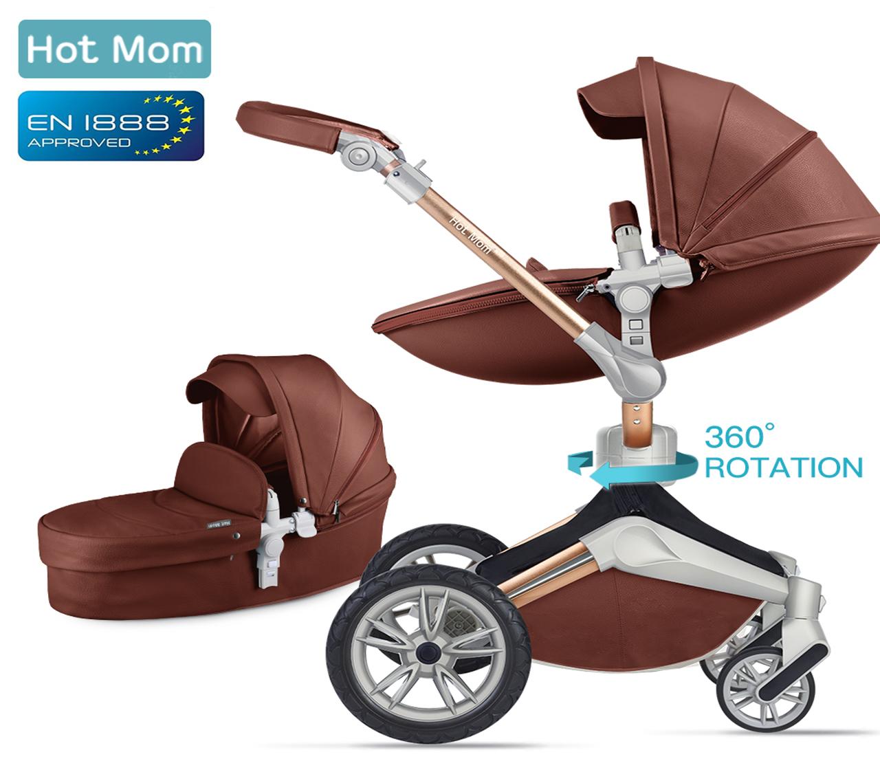 Оригинальная детская коляска Hot Mom 2в1 New 360 Dark Brown Тёмно-коричневый эко-кожа Прогулка и люлька