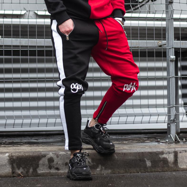 Спортивные штаны Пушка Огонь Joker черно-красные
