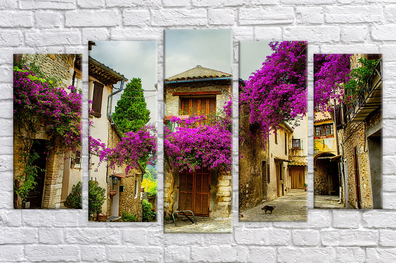 Модульная картина на холсте Улица в цветах 9