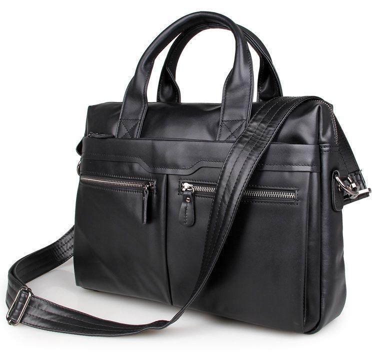 Черная кожаная почтальонская сумка черная