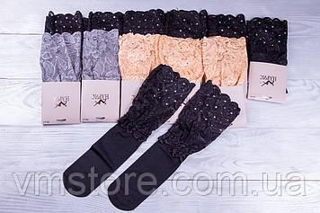 Носки женские капроновые с широким кружевом и стразами