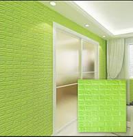 Самоклеящиеся 3d панели для стен обои кирпич зеленый Sticker Wall 700x770x7мм