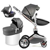 Оригинальная детская коляска Hot Mom 3в1 New 360 Dark Grey Тёмно-серый Прогулка, люлька и автокресло