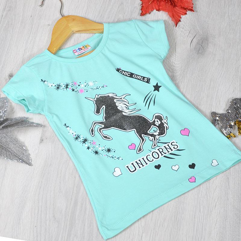 Детская футболка, трикотаж, для девочек  раз. 110-128 см, 5-8 лет (4 ед. в уп)