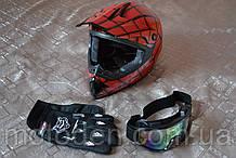 """Бюджетный кроссовый шлем """"Spider-Man"""" в комплекте с маской и перчатками. Размер L."""