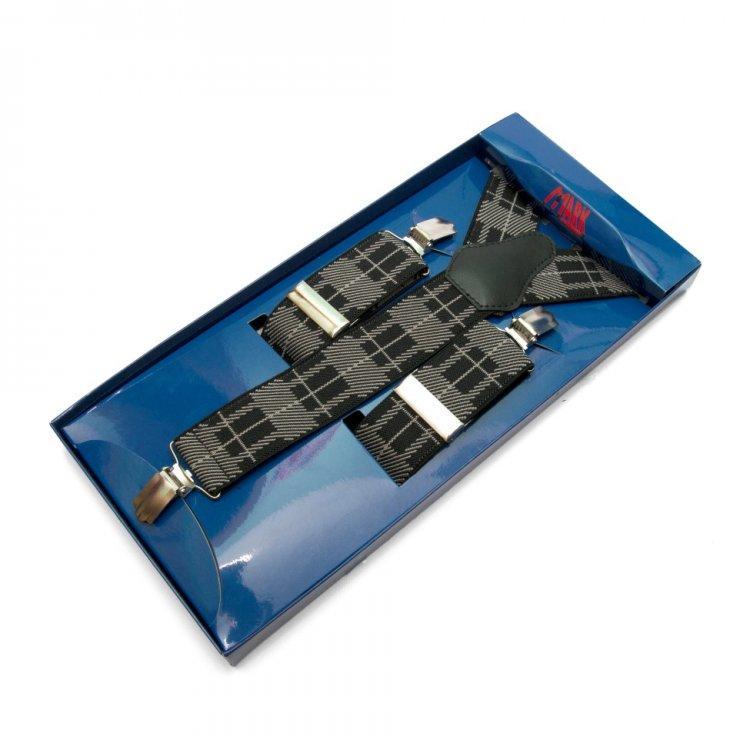 Подтяжки Gofin suspenders Y Образные Черно-бежевые (Pu-0497)