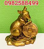 Золотая крыса с монеткой символ богатства, фото 2