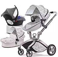 Оригинальная детская коляска Hot Mom 3в1 Leaf Листва Прогулка, люлька и автокресло