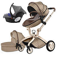Оригинальная детская коляска Hot Mom 3в1 Gucci Прогулка, люлька и автокресло