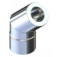 Отвод 45° двустенный для дымохода 180/250 н/оц 0,8 мм