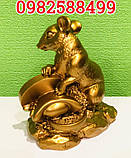 Золотая крыса с монеткой символ богатства, фото 4