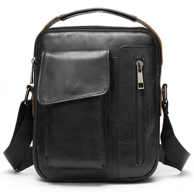 Черная деловая мужская сумка  из натуральной кожи