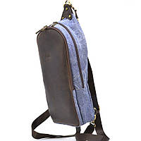 Рюкзак слинг мужской микс ткани канвас и кожи