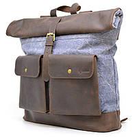 Модный городской рюкзак для парня ткань канвас и кожа