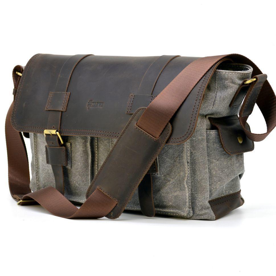 Стильная мужская сумка микс ткани канваз и кожи
