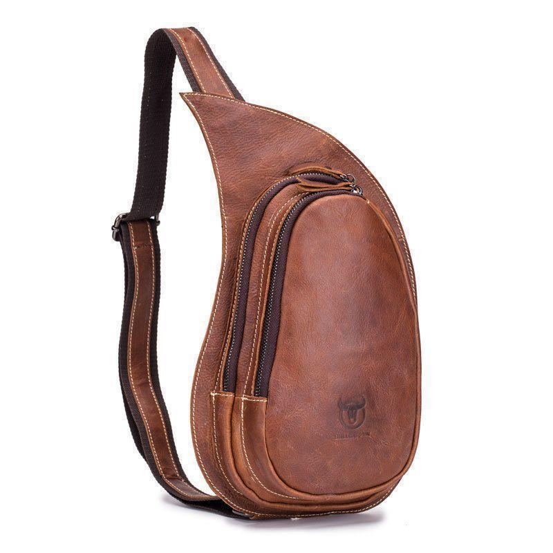 """Индивидуального дизайна мини-рюкзак из натуральной кожи """"слинг"""" на одно плечо"""