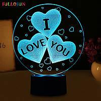 3D Светильник I LOVE YOU, светильник в форме сердец. 1 светильник- 16 цветов света. Подарки на день влюбленных