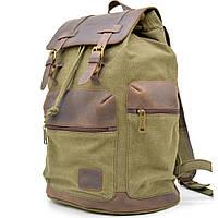 Надежный городской рюкзак микс из парусины и кожи