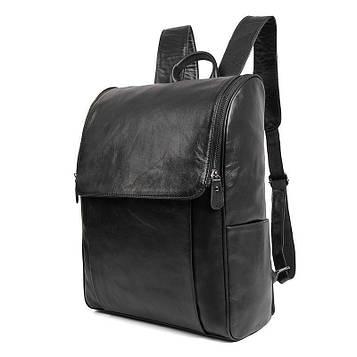 Кожаный рюкзак городской черный для ноутбука
