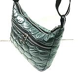 Женские стеганные сумки со змейкой на плечо (СЕРЫЙ)26*34см, фото 4