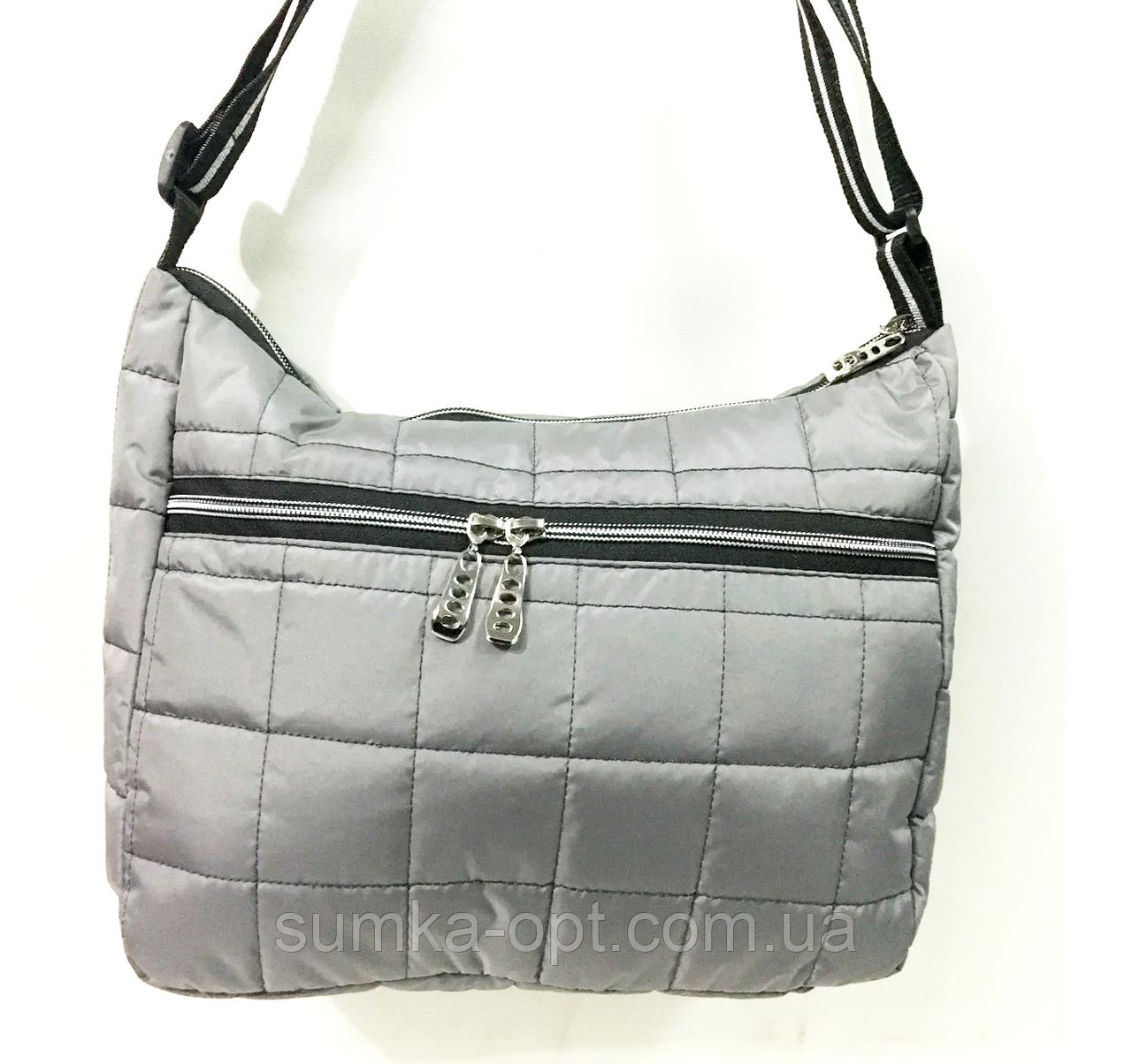 Женские стеганные сумки со змейкой на плечо (СЕРЫЙ)26*34см
