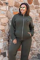 Спортивный костюм женский большого размера трикотажный хаки