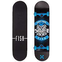 Скейтборд деревянный в сборе из канадского клена 31in FISH COOLDOG  (черный-серый-синий), фото 1
