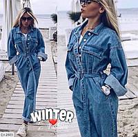 Женский джинсовый комбинезон с длинными рукавами