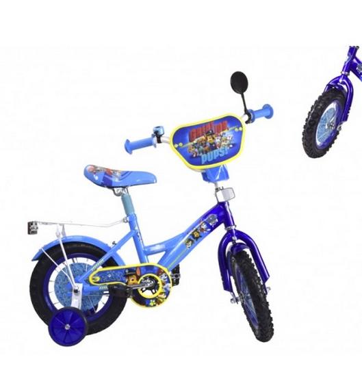 Велосипед детский двухколесный.Детский городской транспорт.Синий двухколесный велосипед.