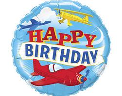 Фольгированный шар 18' Китай Happy Birthday самолеты, 45 см