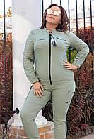 Костюм брючный женский большого размера So StyleM в стиле милитари Оливковый