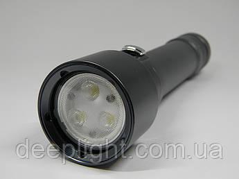 Профессиональный подводный фонарь Deeplight Pro X3 Cree XP-G 12W широкий засвет для подводной съёмки.