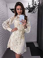 Женское нарядное платье из кружева на пуговицах 42-44 р