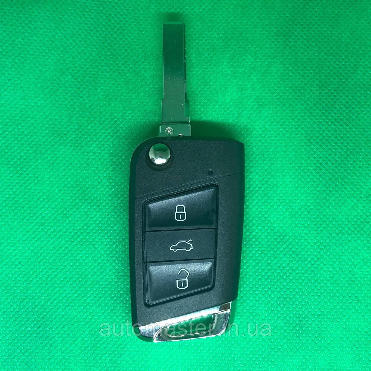 Корпус выкидного авто ключа VOLKSWAGEN Golf 7 (Фольксваген Гольф 7) 3 - кнопки
