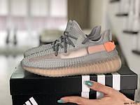 Модные женские кроссовки Adidas x Yeezy Boost,серые с персиковым