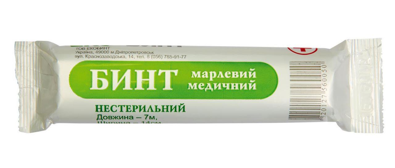 Бинт марлевый медицинский 7м*14см нестерильный, Экобинт