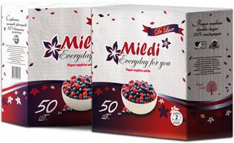 """Салфетки бумажные двухслойные """"Mildi"""" De luxe, 50шт., белые"""