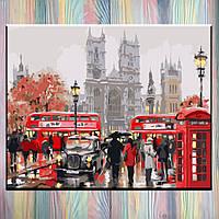 """Картина за номерами, полотно на підрамнику, 40х50, Міський пейзаж """"Ранок у Лондоні"""", без коробки"""