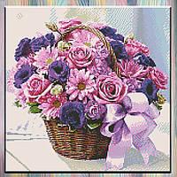 """Алмазная вышивка на холсте с подрамником, Цветы """"Сюрприз для любимой"""" 40*40 см, фото 1"""