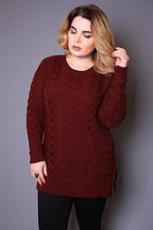 Женский свитер с большой косой, 54-58 бордовый