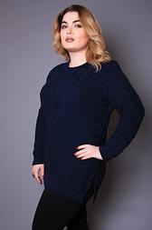 Жіночий светр з великою косою, 54-58 т. синій