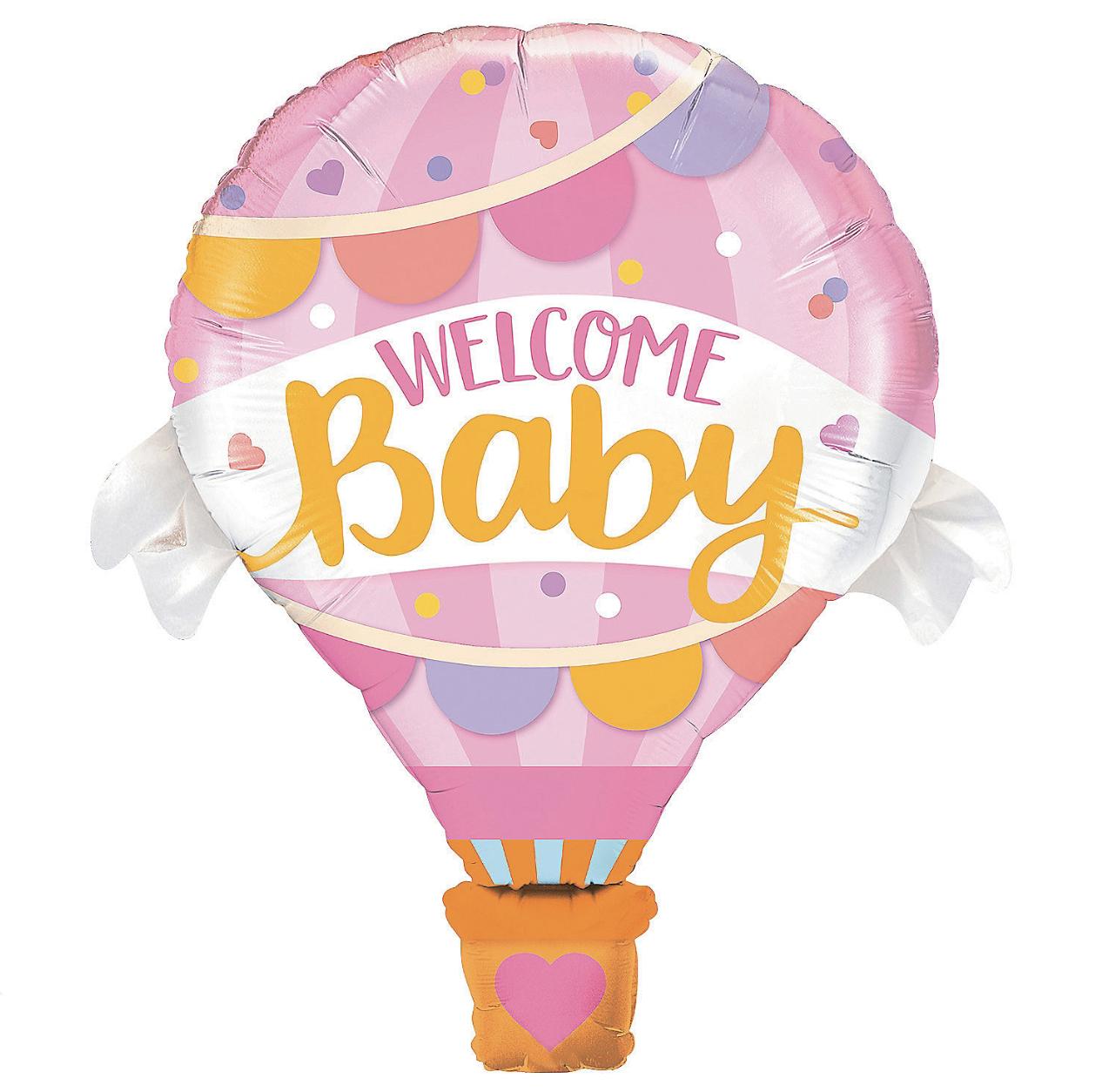 Фольгированный шар 32' Китай Welcome Baby розовый, 80 см