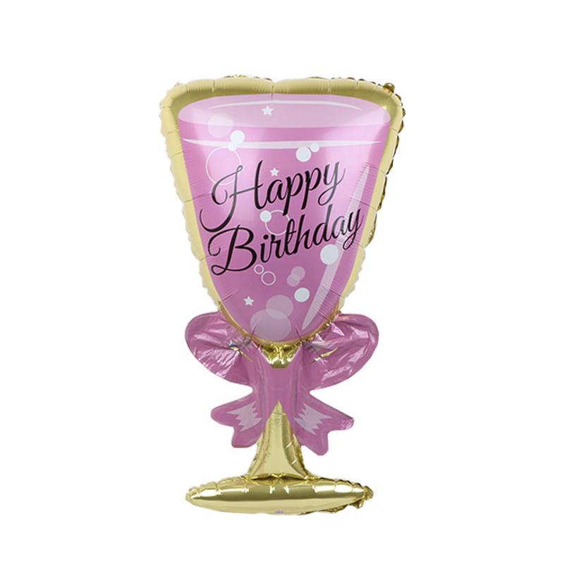 Фольгированный шар 40' Китай Бокал Happy Birthday, 100 см