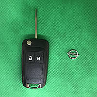 Корпус выкидного авто ключа OPEL INSIGNIA (Опель Инсигния) 2 - кнопки, лезвие HU100