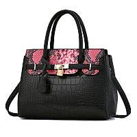 Женская большая сумка Hermes Birkin черная с красным, фото 1