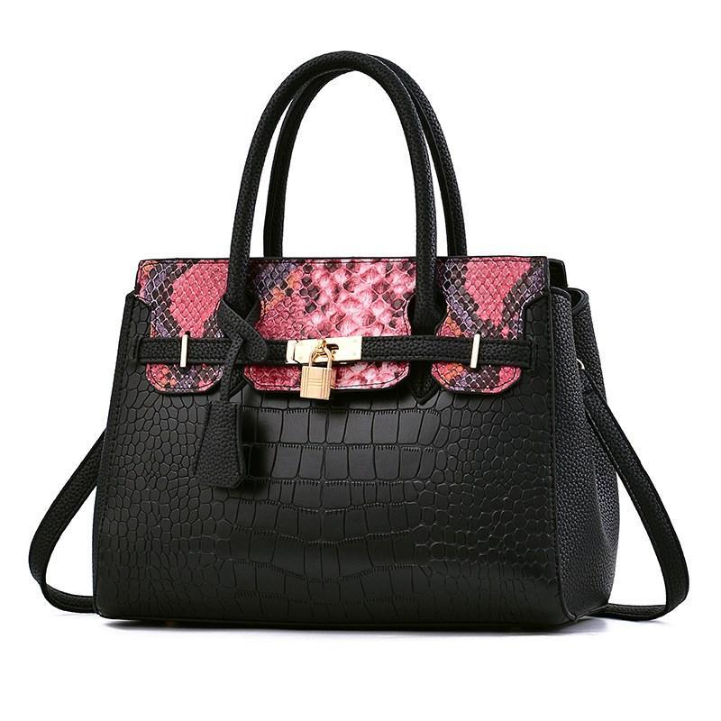 Женская большая сумка Hermes Birkin черная с красным