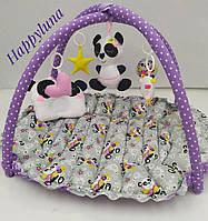 """Детский игровой развивающий коврик - Кокон гнездышко для новорожденного 2 в 1 """" Панда """""""